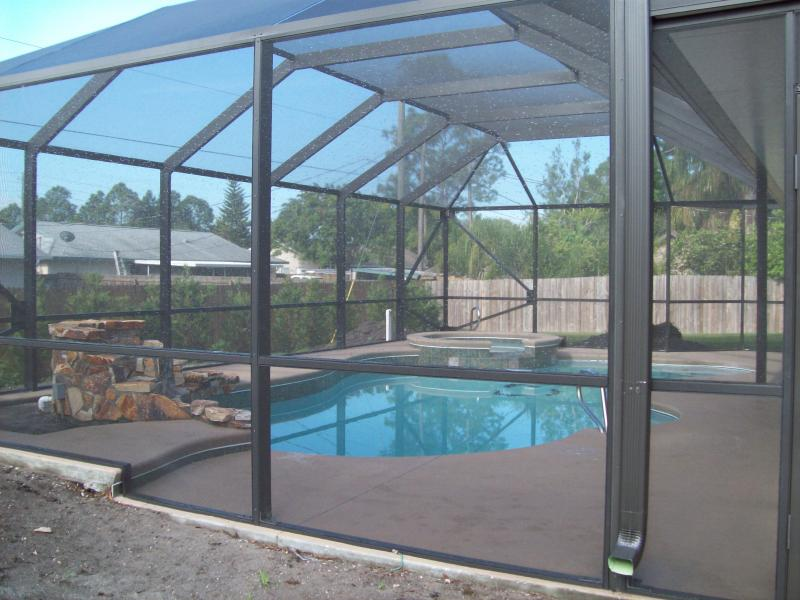 Acrylic 4 panel sliding door u0026 acrylic windows. Rescreened pool enclosure. Completed 1/2012 : pool cage doors - pezcame.com